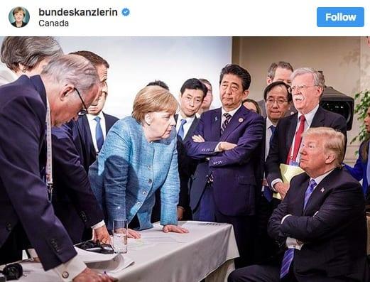 Angela Merkel au G7 nouvelle égérie des réseaux sociaux